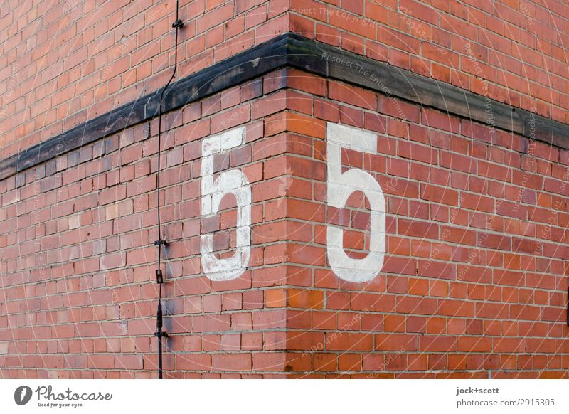55 Old Red Wall (building) Style Wall (barrier) Facade Moody Line Retro Arrangement Esthetic Authentic Large Corner Past Digits and numbers