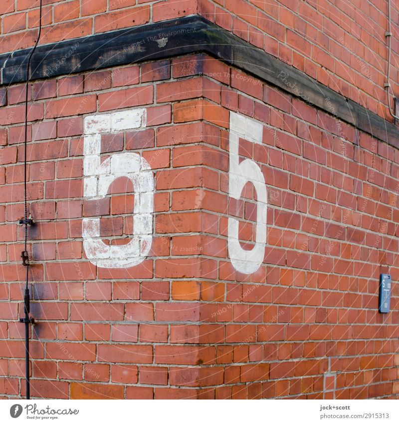 55 squared Kreuzberg Wall (barrier) Wall (building) Facade Corner Brick Lightning rod Sign Digits and numbers Line Old Authentic Sharp-edged Firm Large Retro