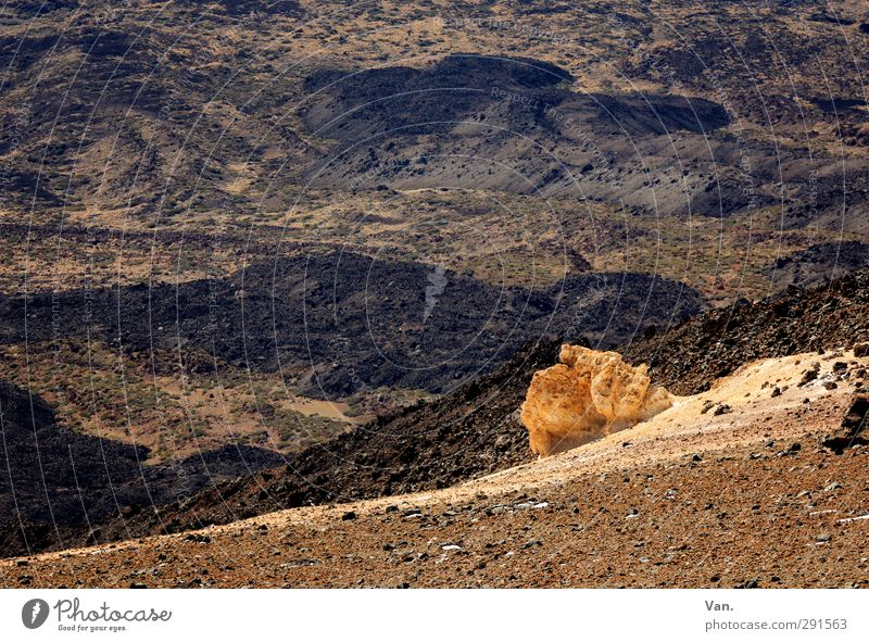 Nature Vacation & Travel Landscape Yellow Above Stone Brown Rock Earth Hiking Hill Gravel Volcano Sparse Tenerife Teide
