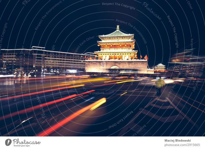 Xian bell tower at night, China. Vacation & Travel Tourism Trip Sightseeing City trip Downtown Building Architecture Landmark Monument Transport Road traffic