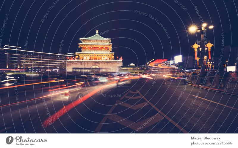 Xian bell tower at night, China. Vacation & Travel Tourism Sightseeing City trip Town Building Architecture Tourist Attraction Landmark Monument Transport