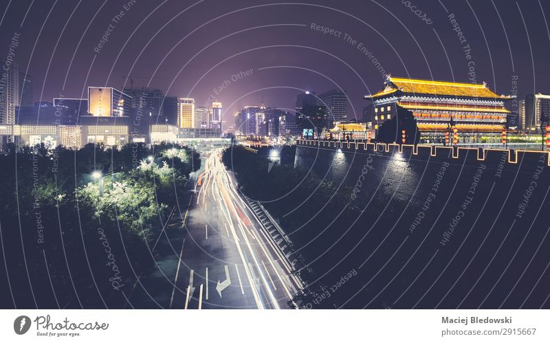 Xian skyline with City Wall at night, China. Vacation & Travel Tourism Trip Sightseeing City trip Downtown Skyline Populated Wall (barrier) Wall (building)