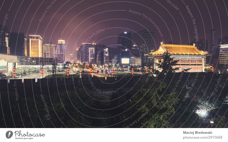Xian skyline with City Wall at night, China. Vacation & Travel Tourism Sightseeing City trip Night life Office Business Park Town Downtown Old town Skyline