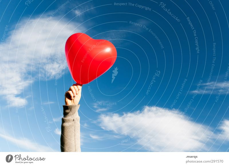 Sky Blue Beautiful Hand Red Clouds Love Life Emotions Together Heart Lifestyle Beautiful weather Wedding Romance Sign