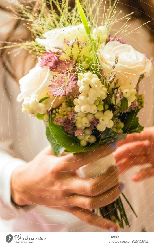 bridal bouquet the day of the wedding Woman Nature Plant Colour Beautiful Green White Hand Flower Adults Love Feasts & Celebrations Couple Pink Design