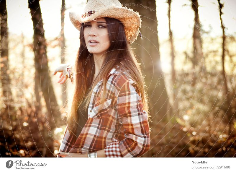 Memories from far away. Lifestyle Human being Young woman Youth (Young adults) 1 18 - 30 years Adults Shirt Accessory Hat Cowboy hat Hair and hairstyles