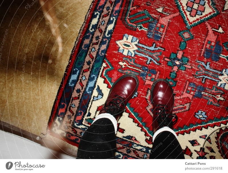 the CarpetFloor Stockings Tights Cloth Varnish Footwear Boots lace-up boots Lie Stand Simple Red Floor covering Tile Colour photo Interior shot Artificial light