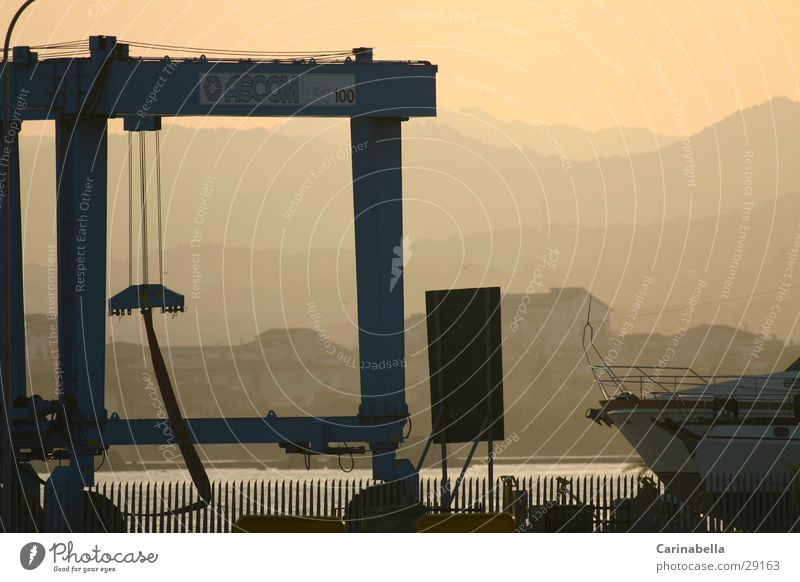 work Sardinia Shipyard Dusk Crane Fog Evening sun quay Harbour