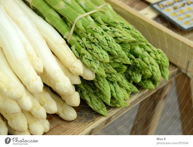 Healthy Food Fresh Nutrition Vegetable Delicious Organic produce Diet Vegetarian diet Asparagus Farmer's market Vegetable market Bunch of asparagus