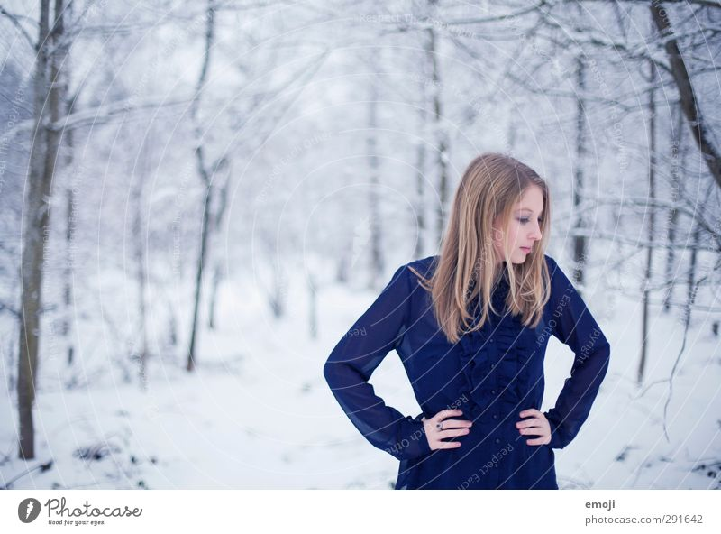 Human being Nature Youth (Young adults) Blue Beautiful White Winter Adults Young woman Environment Cold Snow Feminine 18 - 30 years Blouse