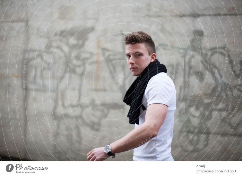 colourless Masculine Young man Youth (Young adults) 1 Human being 18 - 30 years Adults T-shirt Scarf Hip & trendy Beautiful Gray Colour photo Subdued colour