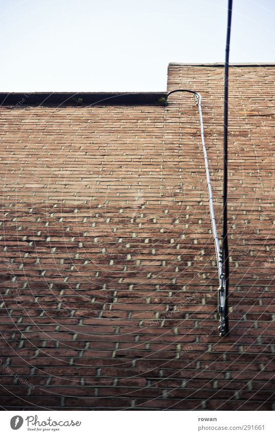 wall cable Manmade structures Wall (barrier) Wall (building) Facade Red Brick Brick red Brick wall Cable Electricity Connection Telephone cable Vertical Line