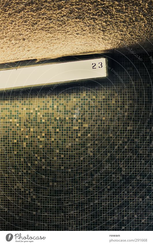 23 Wall (barrier) Wall (building) Turquoise Tile Neon light Illuminate Lamp Bright Dark Creepy Mysterious Green Pattern Colour photo Interior shot Deserted