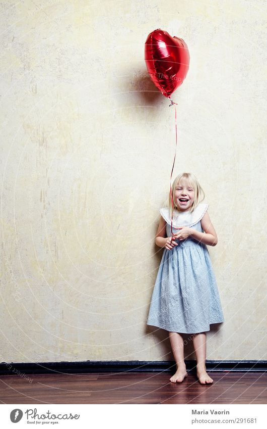 Human being Child Girl Joy Love Feminine Laughter Happy Infancy Flying Blonde Heart Happiness Cute Balloon Dress