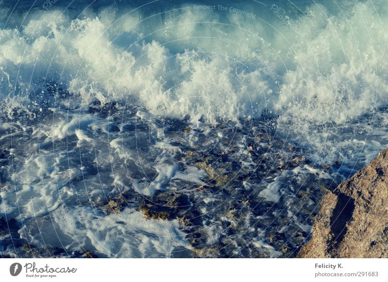 Wild water Environment Nature Water Drops of water Beautiful weather Waves Coast Bay Ocean Stone Sand Fluid Fresh Blue Turquoise White Wanderlust Colour photo