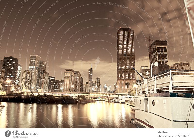 Night.gall Night sky Chicago Chicago River USA American Flag Town Downtown Skyline High-rise Harbour Night shot Long exposure Deserted