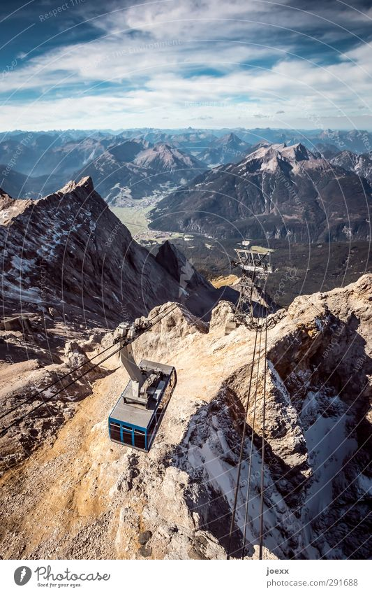 descent Landscape Sky Clouds Horizon Summer Beautiful weather Rock Alps Mountain Zugspitze Means of transport Cable car Stone Movement Driving Gigantic Infinity