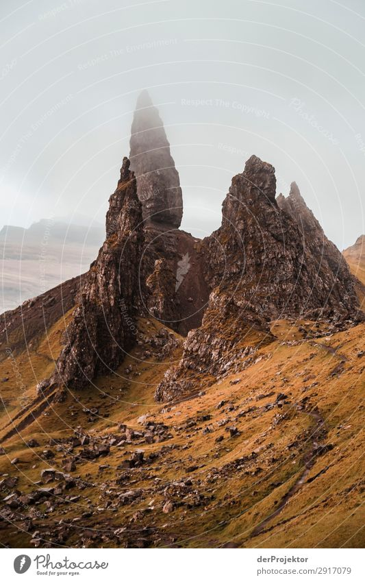 Old Man of Storr in the fog on Isle of Skye IX Trip Tourism Adventure Vacation & Travel Mountain Hiking Environment Far-off places Nature Freedom North Sea