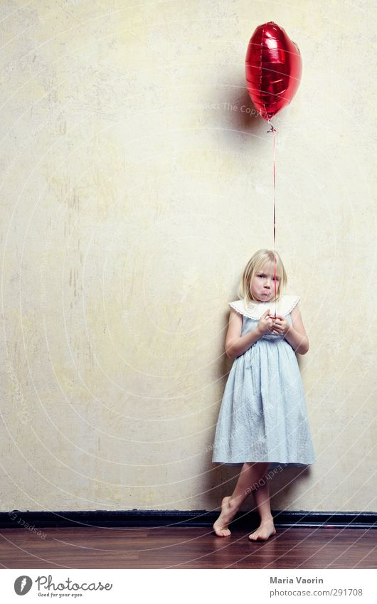 Human being Child Loneliness Feminine Playing Sadness Flying Infancy Blonde Fear Heart Mouth Balloon Grief Dress Longing
