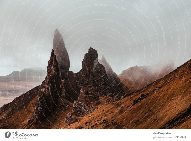 Old Man of Storr in the fog on Isle of Skye VII Trip Tourism Adventure Vacation & Travel Mountain Hiking Environment Far-off places Nature Freedom North Sea