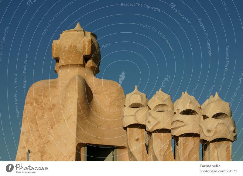 chimneys Barcelona Roof Fireside Art Architecture Joy Sky Gaudi Deserted Blue sky