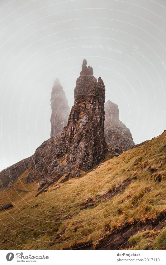 Old Man of Storr in the fog on Isle of Skye VI Trip Tourism Adventure Vacation & Travel Mountain Hiking Environment Far-off places Nature Freedom North Sea