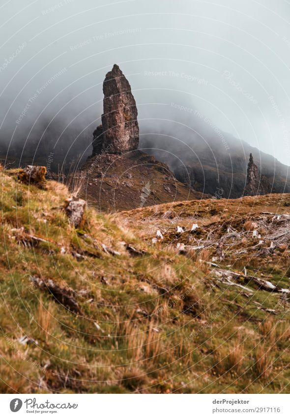 Old Man of Storr in the fog on Isle of Skye IV Trip Tourism Adventure Vacation & Travel Mountain Hiking Environment Far-off places Nature Freedom North Sea