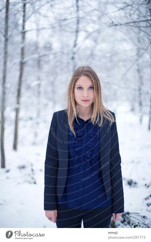BLUE Feminine Young woman Youth (Young adults) 1 Human being 18 - 30 years Adults Winter Snow Fashion Suit Beautiful Cold Blue White Colour photo Exterior shot