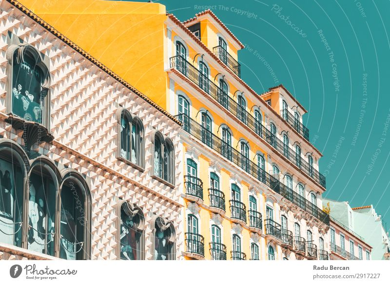 Colorful Apartment Building Facade In Lisbon, Portugal Home House (Residential Structure) Town Downtown Style Classic Vacation & Travel City Consistency