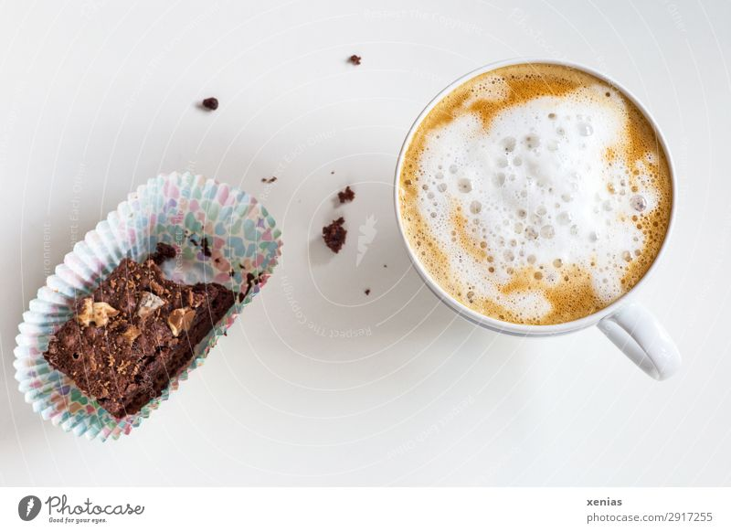 Coffee with foamed milk and nibbled brownie Food Cake piece of cake Milk Eating To have a coffee Beverage Drinking Hot drink Cup Fragrance Delicious Sweet