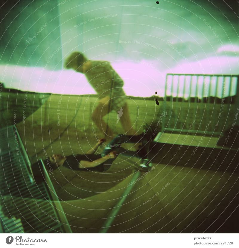 skate Skateboard Human being Masculine 2 18 - 30 years Youth (Young adults) Adults Crucifix Esthetic Athletic Hip & trendy Speed Town Double exposure