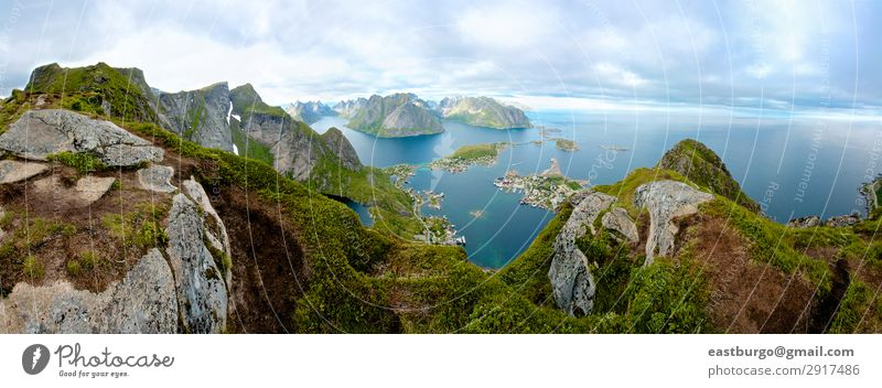 A panoramic view from Lofoten Island, Norway Beautiful Vacation & Travel Ocean Mountain Nature Landscape Clouds Town Bridge Blue Green Amazing Arctic circle
