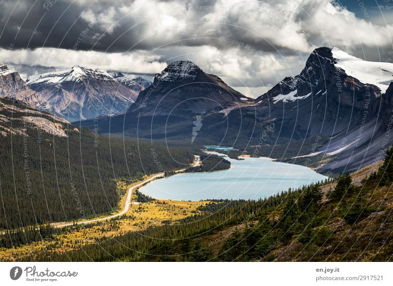 Mountain and valley Vacation & Travel Trip Adventure Far-off places Freedom Summer vacation Nature Landscape Clouds Autumn Rocky Mountains Lake bow lake Street