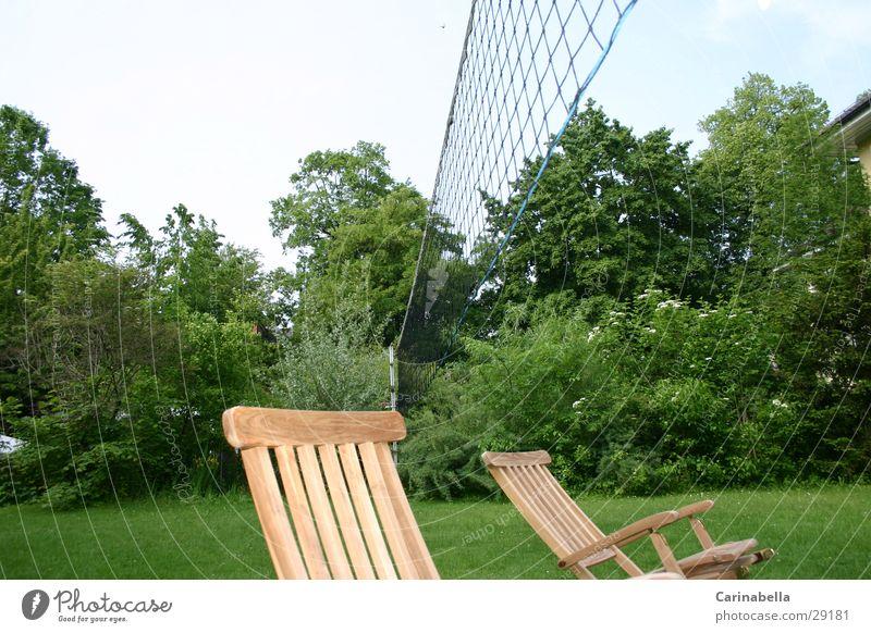 Relaxation Garden Lie Deckchair Lawn for sunbathing Volleyball net