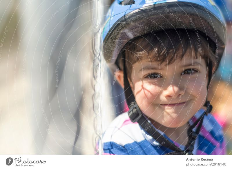 Helmet kid Happy Child Human being Toddler Boy (child) 1 1 - 3 years Smiling Safety Protection Safety (feeling of) Motorcycling helmet 3s three years old Fence