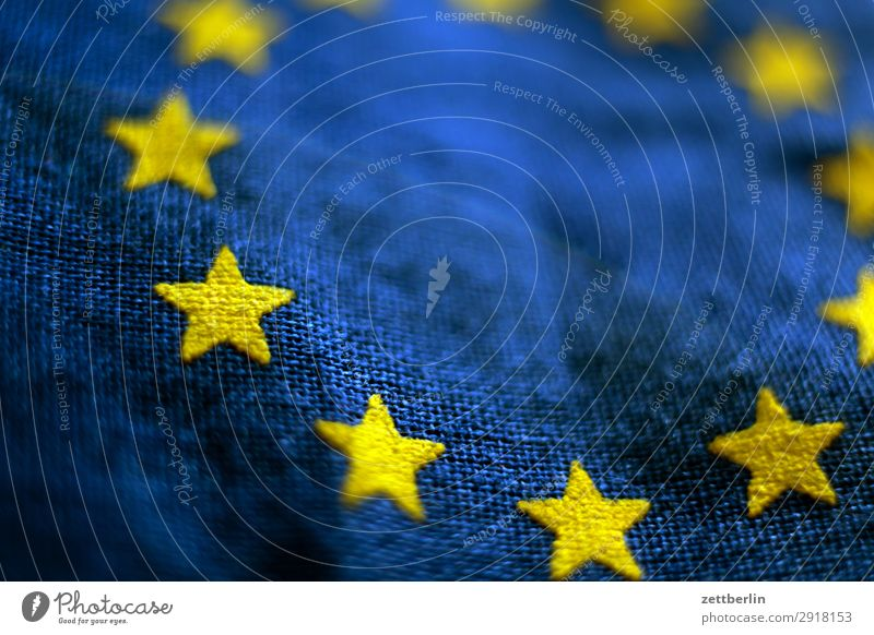European flag again Cotton Blue Design Euro symbol Flag Wrinkles Yellow Cloth Gold Circle Star (Symbol) Symbols and metaphors Textiles Landmark exit brexite