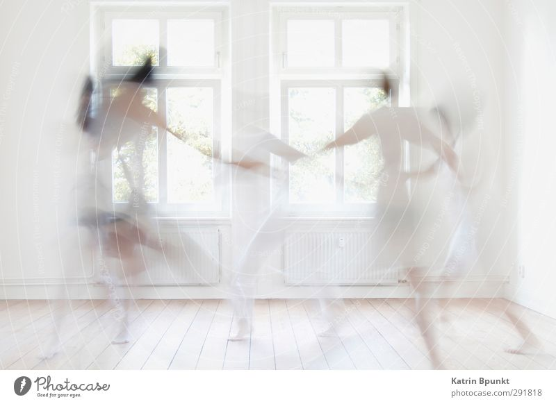 dancing ghosts #2 Room Human being 5 Dancer Athletic Bright White Joy Life Ghosts & Spectres  Subdued colour Interior shot Back-light Motion blur