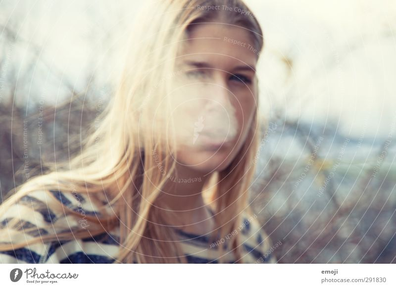 blurred Feminine Androgynous Young woman Youth (Young adults) 1 Human being 18 - 30 years Adults Breathe Smoking Smoke Colour photo Exterior shot Day Blur