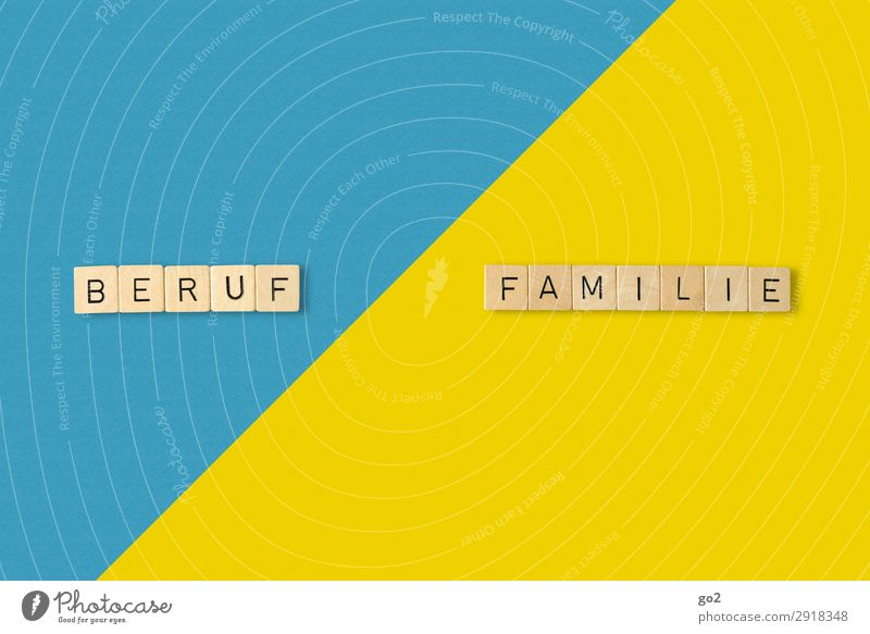 Career vs Family? Playing Work and employment Profession Success Family & Relations Life Paper Wood Characters Esthetic Blue Yellow Fear of the future