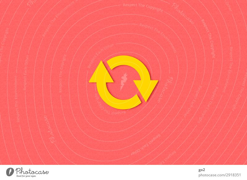 circulation Sign Arrow Circle Esthetic Simple Round Yellow Red Beginning Contentment Movement Center point Emphasis Infinity Change Time Recycling Excursion