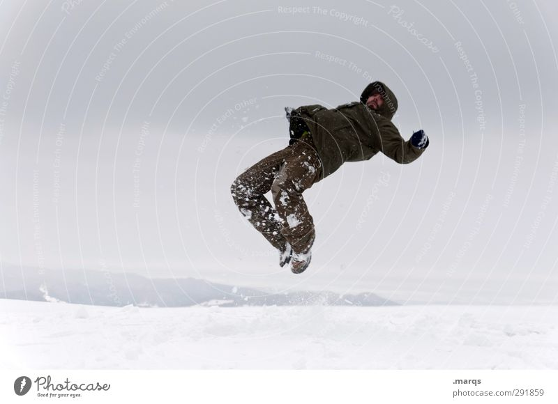 Human being Nature Joy Winter Adults Cold Snow Jump Ice Exceptional Flying Masculine Crazy Dangerous Trip Adventure