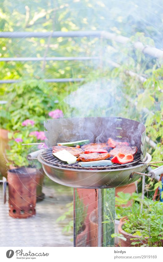 grilling on balconies Meat Vegetable Nutrition BBQ Barbecue (event) Balcony Beautiful weather Plant Flower Barbecue (apparatus) Charcoal Smoke Smoking Authentic