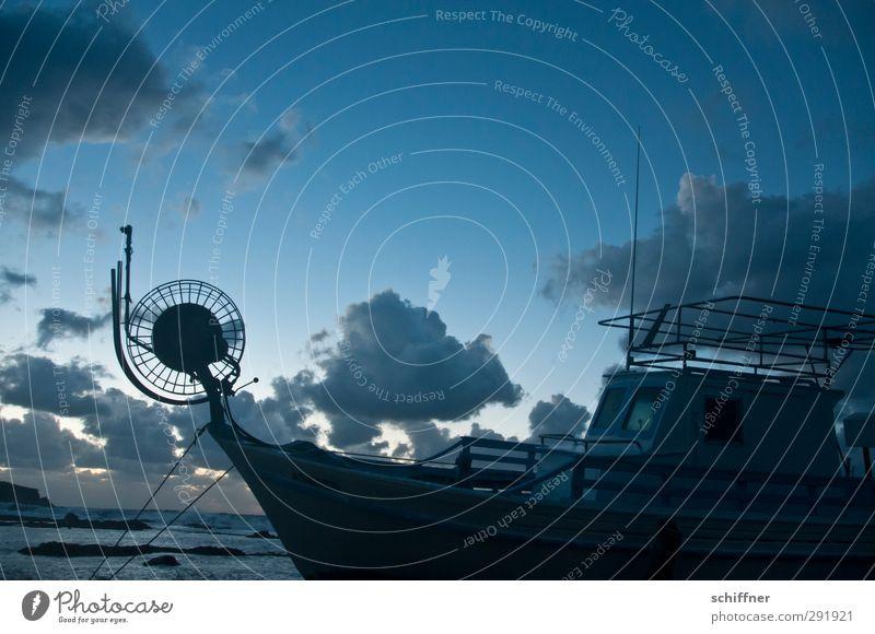Sky Clouds Dark Watercraft Rope Navigation Dusk Construction Antenna Railing Deck Drop anchor Fishing boat Shipyard Wreck Hull