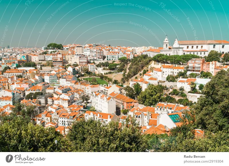 Aerial View Of Lisbon City Rooftops In Portugal Aircraft Vantage point Europe Vientiane Panorama (Format) Skyline Old Tourism Architecture Street Historic