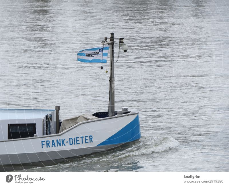 FRANK-DIETER Transport Navigation Inland navigation Characters Communicate Swimming & Bathing Blue Gray White Movement Uniqueness Logistics Cargo-ship Name Bow