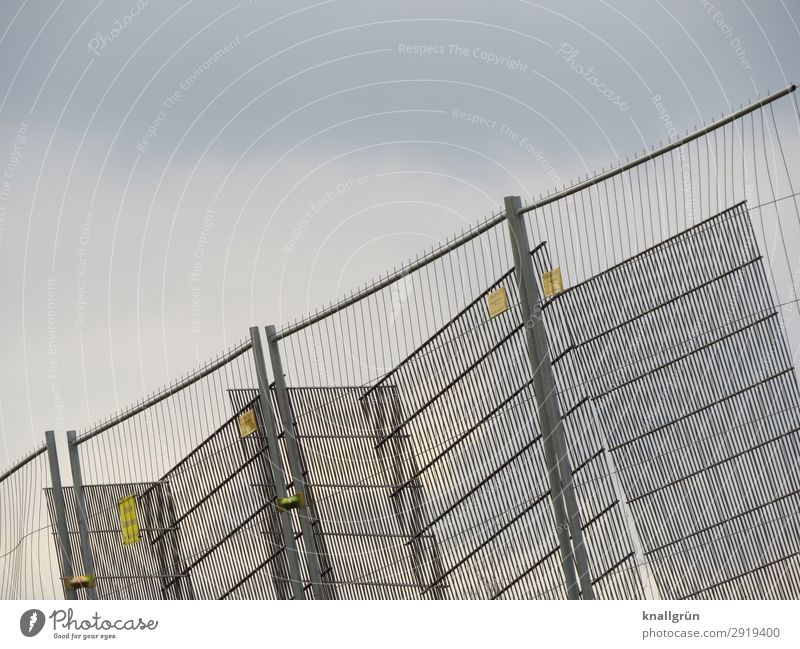 tilted position Hoarding Fence Grating Communicate Sharp-edged Glittering Silver Protection Safety Bans Barrier Construction site Metalware Colour photo