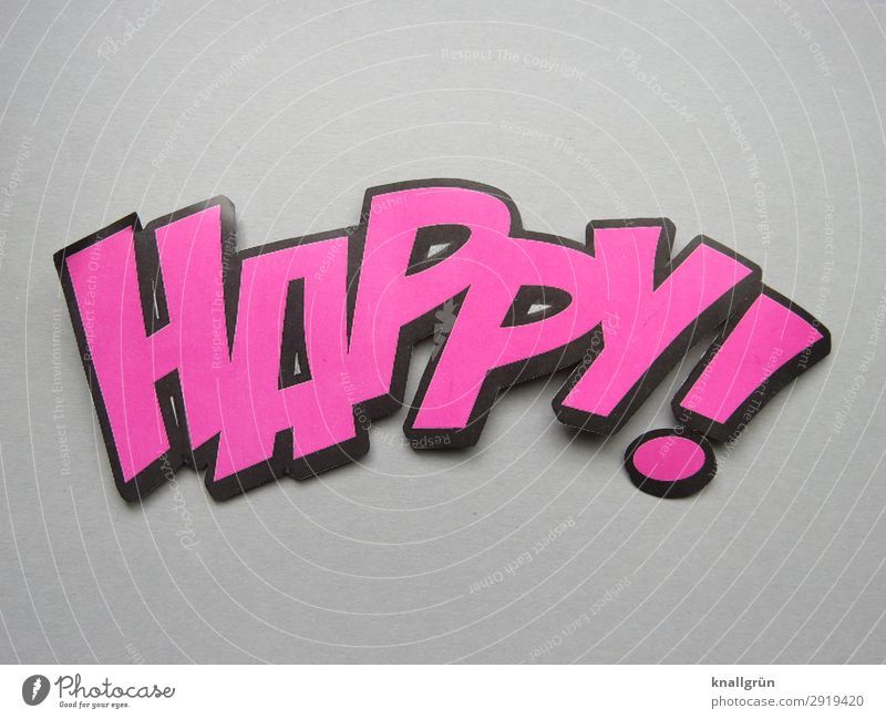 happy! Characters Signs and labeling Communicate Gray Pink Black Emotions Happy Colour photo Studio shot Deserted Copy Space top Copy Space bottom