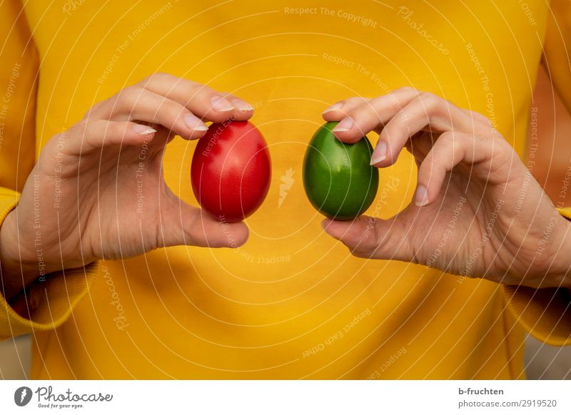 Two Easter eggs in your hands Food Nutrition Organic produce Healthy Eating Kitchen Man Adults Hand Fingers Select Utilize Touch To hold on Yellow Green Red Egg