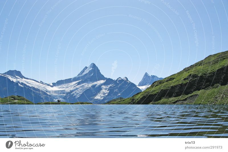 Sky Nature Blue Green Water Summer Landscape Mountain Trip Alps Cloudless sky Grindelwald Schreckhorn Bach alps lake
