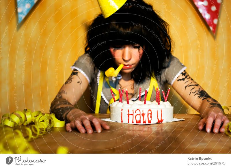 i Hate u Cake Birthday Candle party hat toot Human being Feminine Young woman Youth (Young adults) 1 18 - 30 years Adults Tattoo Feasts & Celebrations Sadness